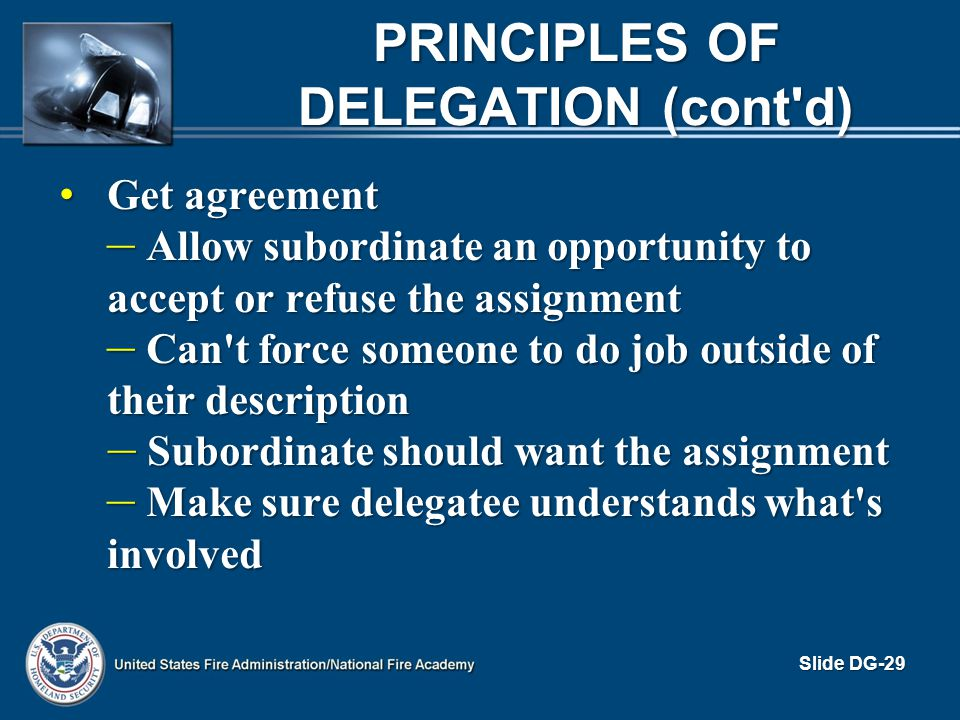 Principles of Delegation (cont d)