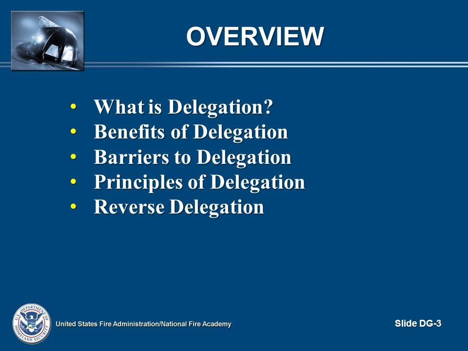 OVERVIEW What is Delegation Benefits of Delegation