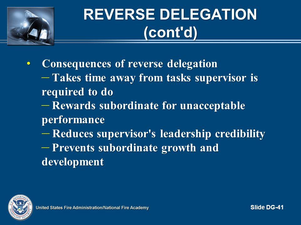 Reverse Delegation (cont d)