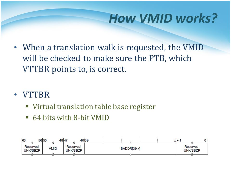 How VMID works When a translation walk is requested, the VMID will be checked to make sure the PTB, which VTTBR points to, is correct.