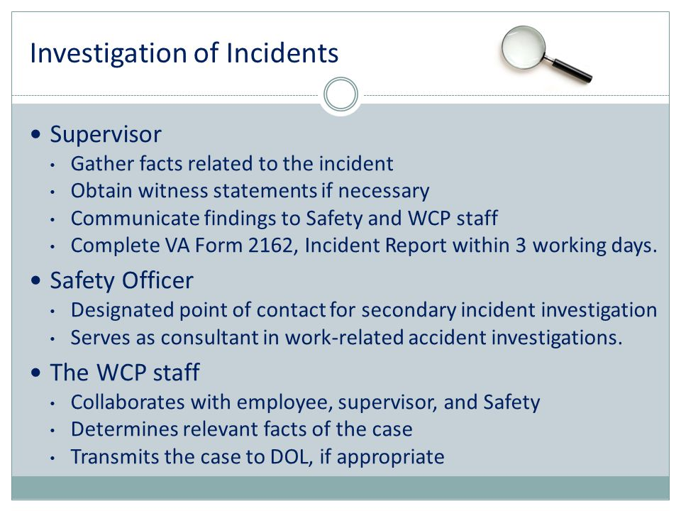 Investigation of Incidents