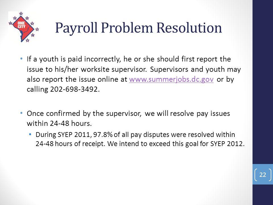 Payroll Problem Resolution