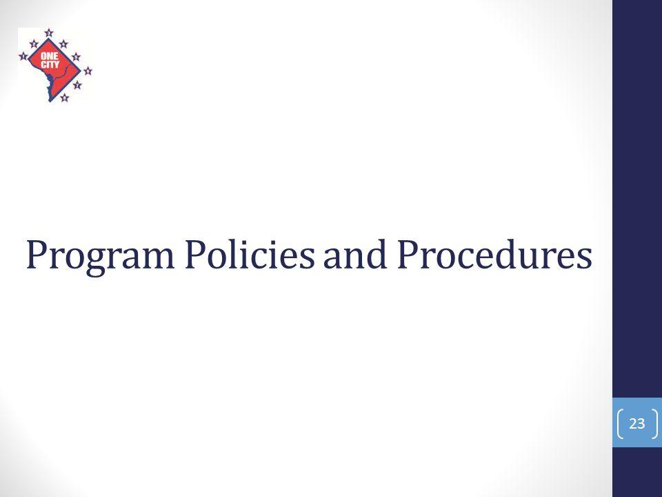 Program Policies and Procedures