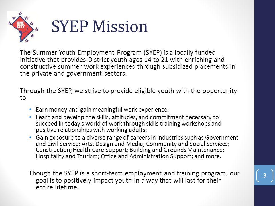 SYEP Mission