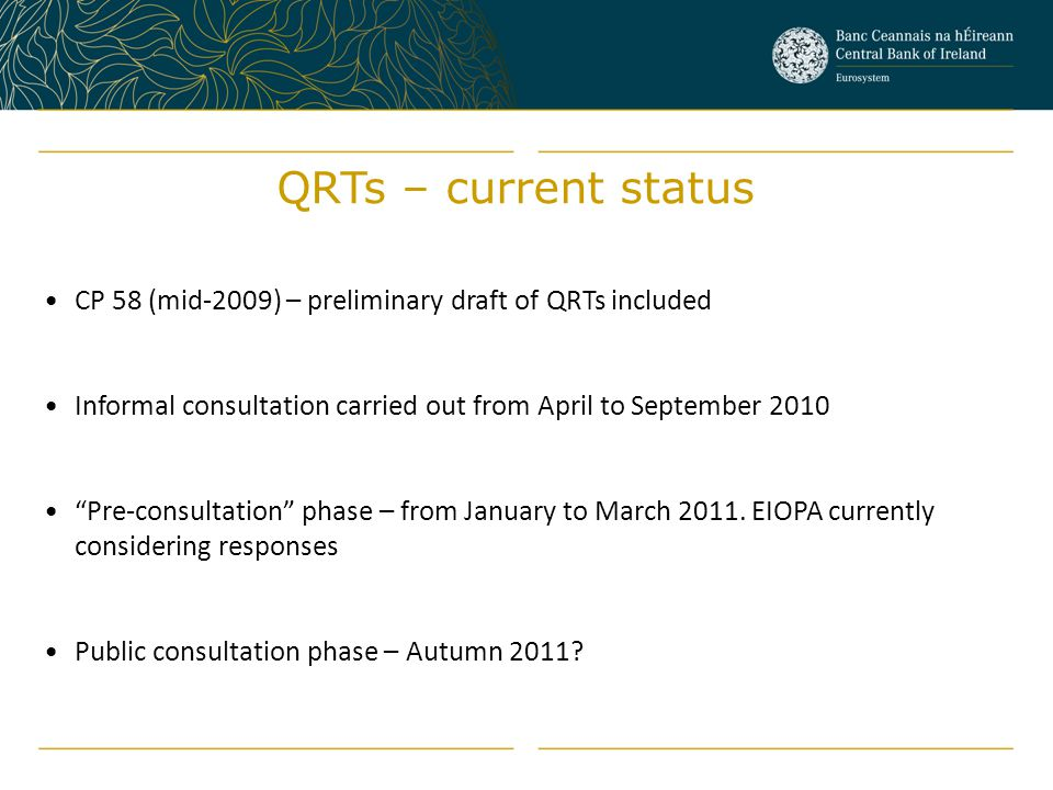 QRTs – current status CP 58 (mid-2009) – preliminary draft of QRTs included. Informal consultation carried out from April to September 2010.