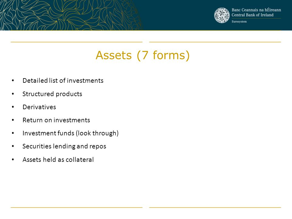 Assets (7 forms) Detailed list of investments Structured products