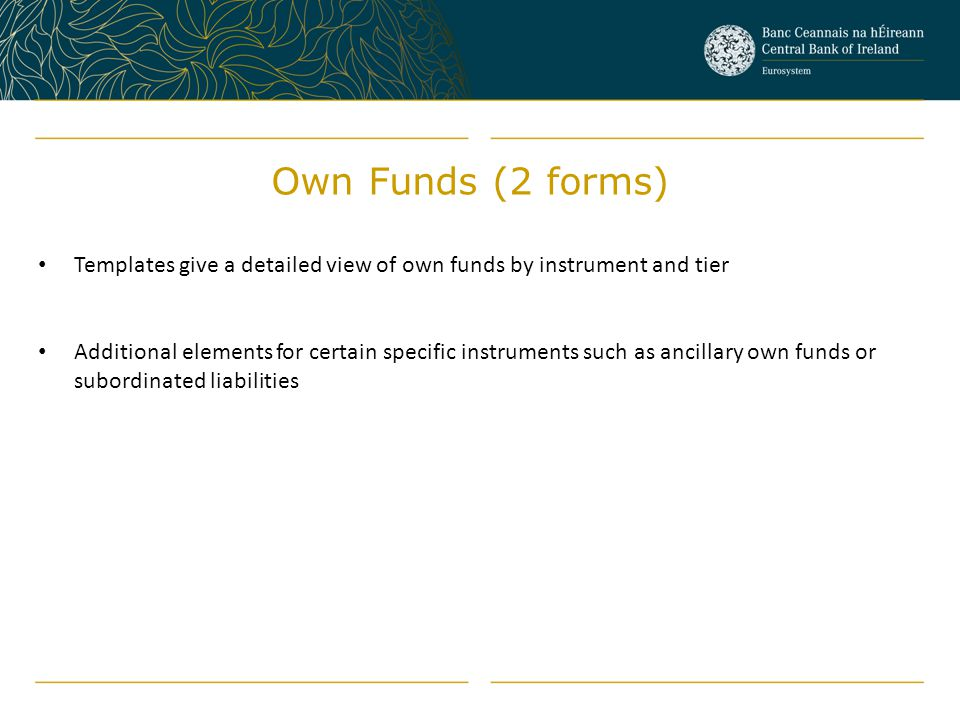 Own Funds (2 forms) Templates give a detailed view of own funds by instrument and tier.