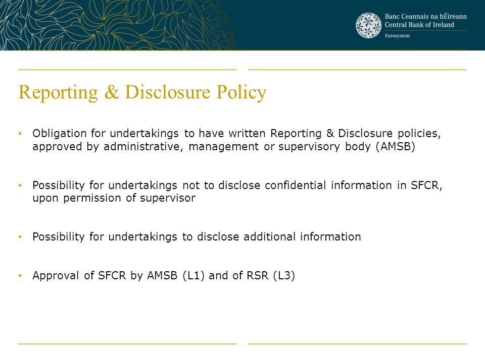 Reporting & Disclosure Policy