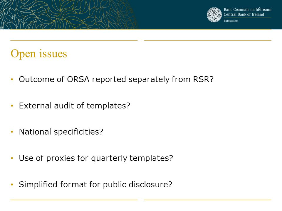 Open issues Outcome of ORSA reported separately from RSR