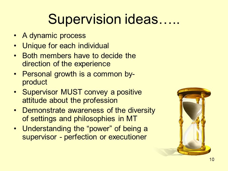 Supervision ideas….. A dynamic process Unique for each individual