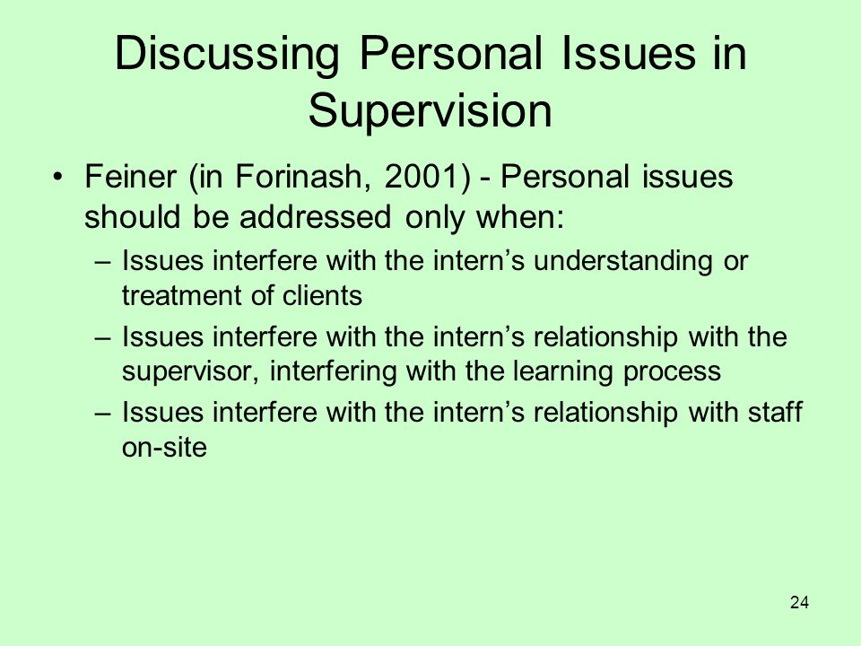 Discussing Personal Issues in Supervision