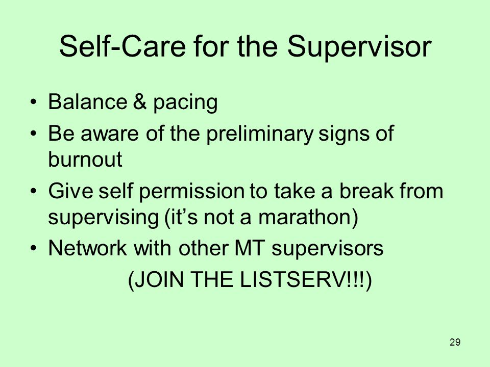 Self-Care for the Supervisor