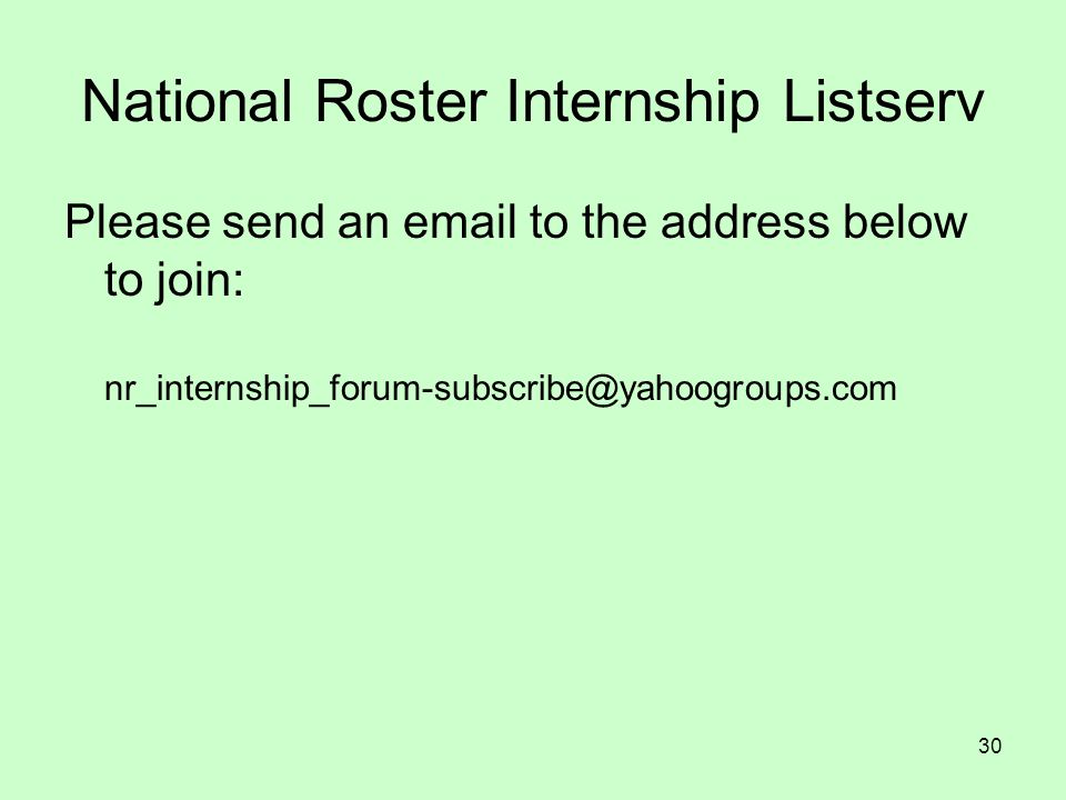 National Roster Internship Listserv