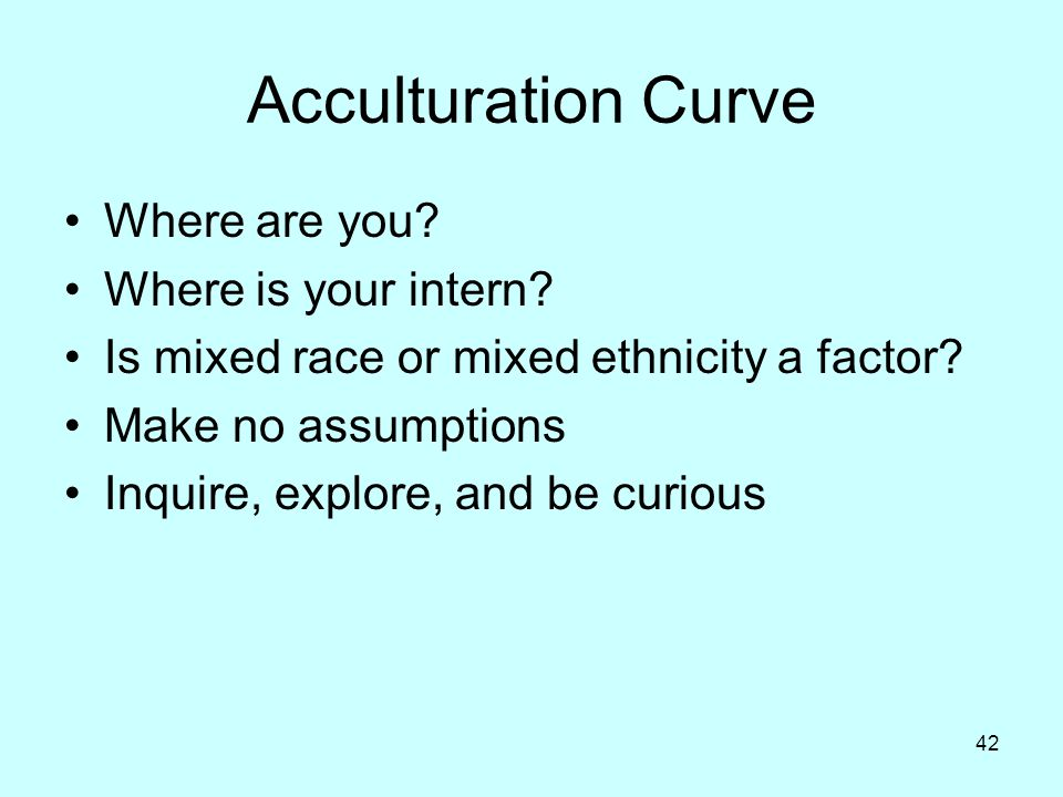 Acculturation Curve Where are you Where is your intern
