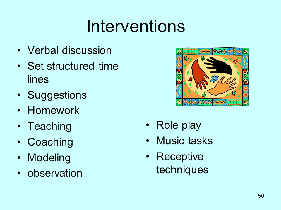 Interventions Verbal discussion Set structured time lines Suggestions