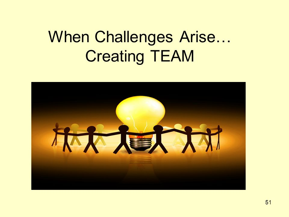 When Challenges Arise… Creating TEAM