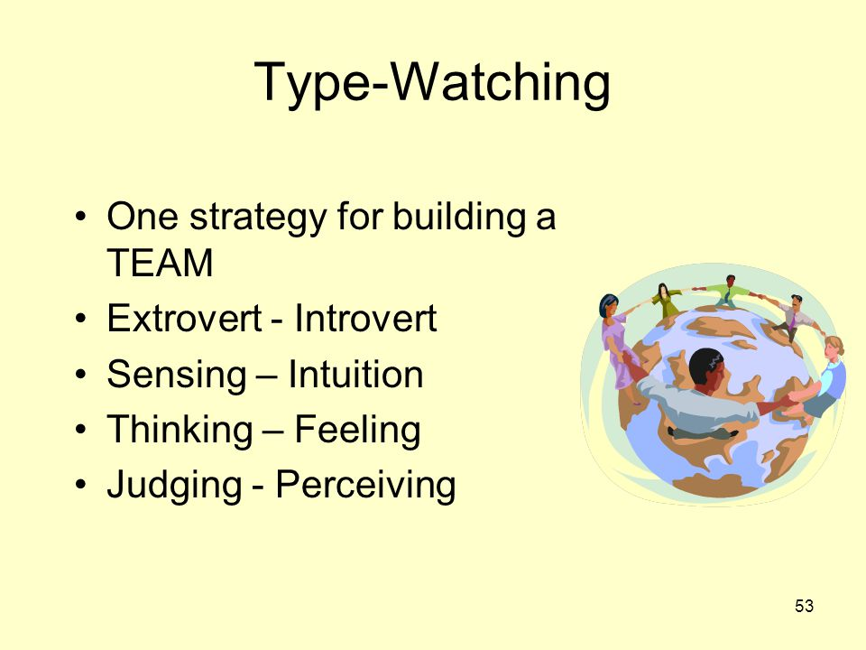 Type-Watching One strategy for building a TEAM Extrovert - Introvert