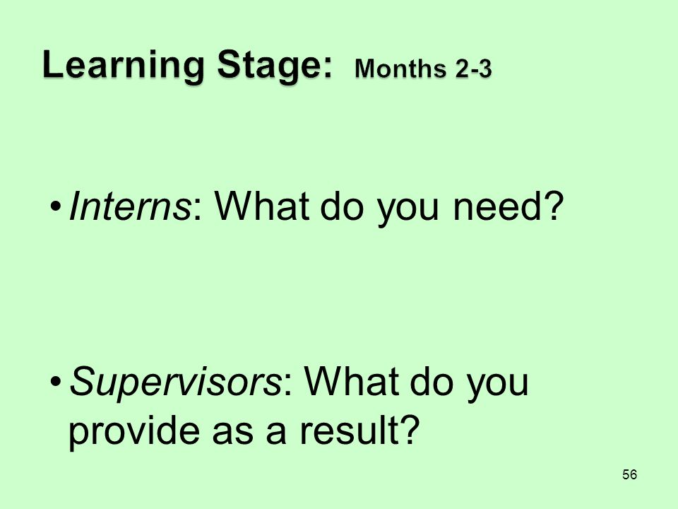 Learning Stage: Months 2-3