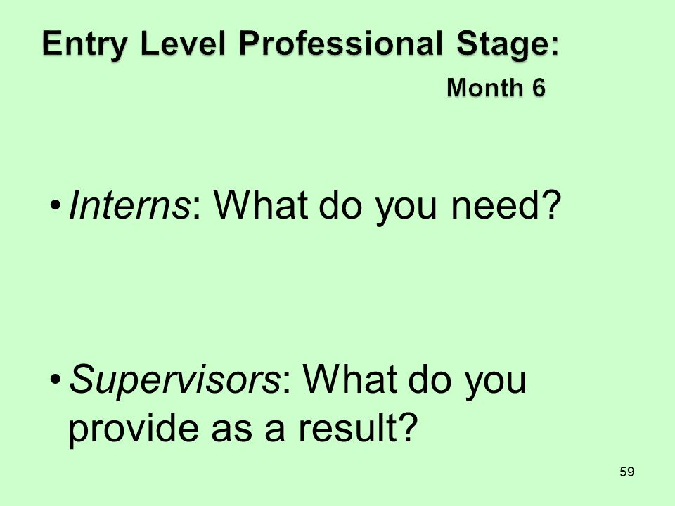 Entry Level Professional Stage: Month 6