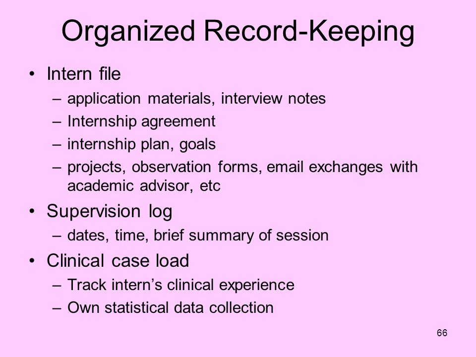 Organized Record-Keeping