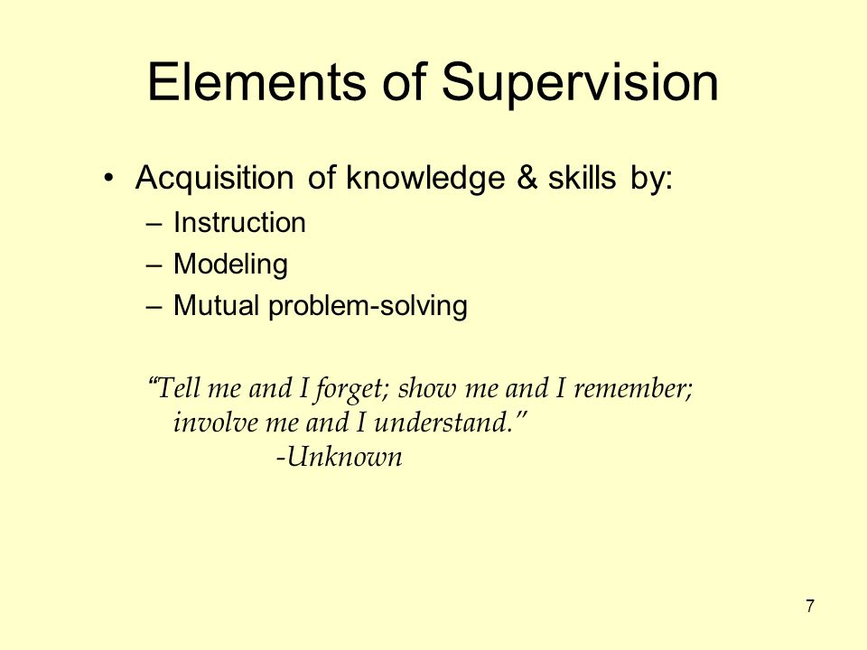 Elements of Supervision