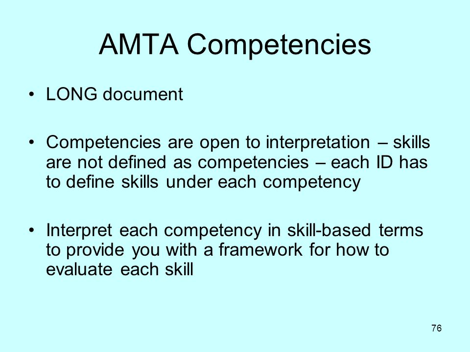 AMTA Competencies LONG document