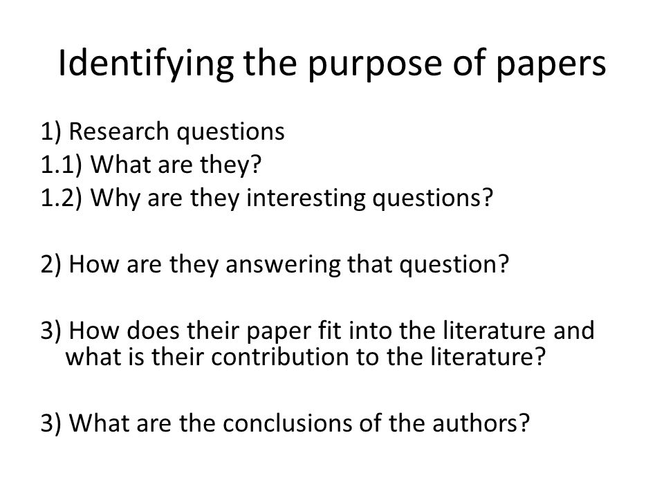 Identifying the purpose of papers