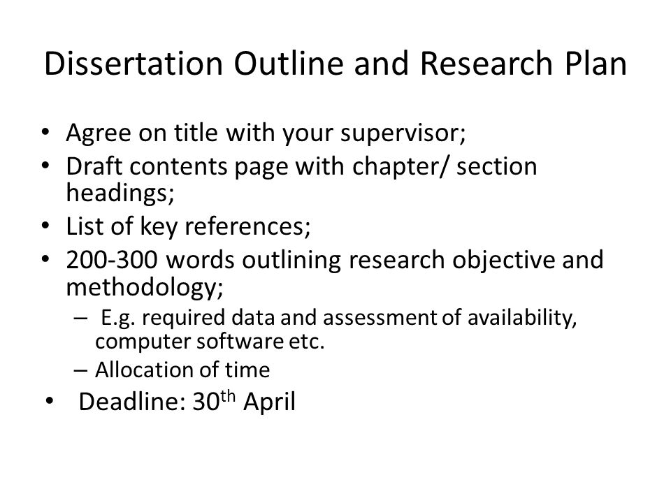 how to write a dissertation chapter plan