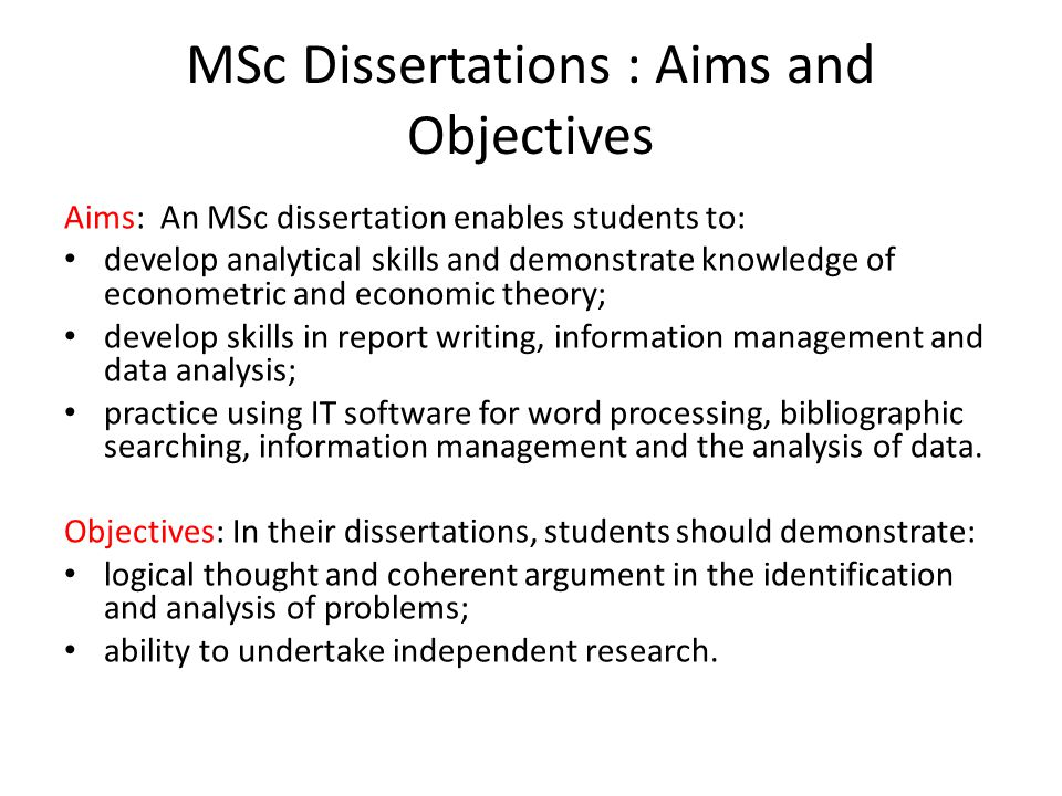 msc it dissertation Dissertation general guidelines the guidelines and procedures for preparing a  dissertation for the mphil, the mmed, and the msc degrees are discussed below.