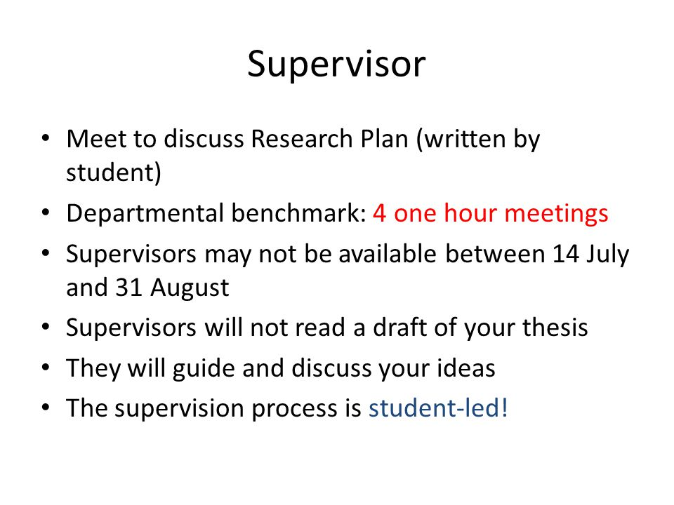 Thesis supervision guidelines