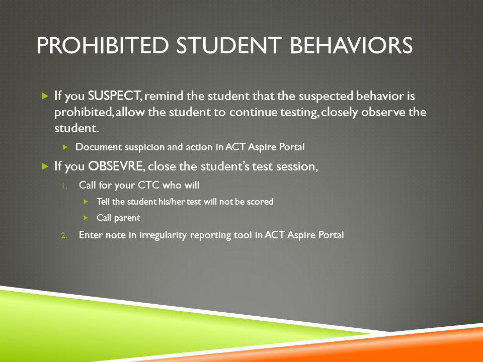 Prohibited student behaviors