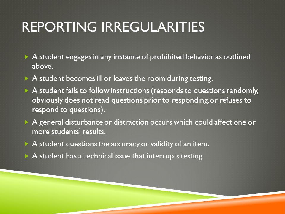 Reporting irregularities