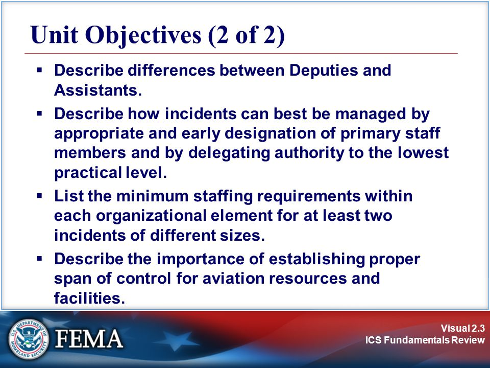 Unit Objectives (2 of 2) Describe differences between Deputies and Assistants.