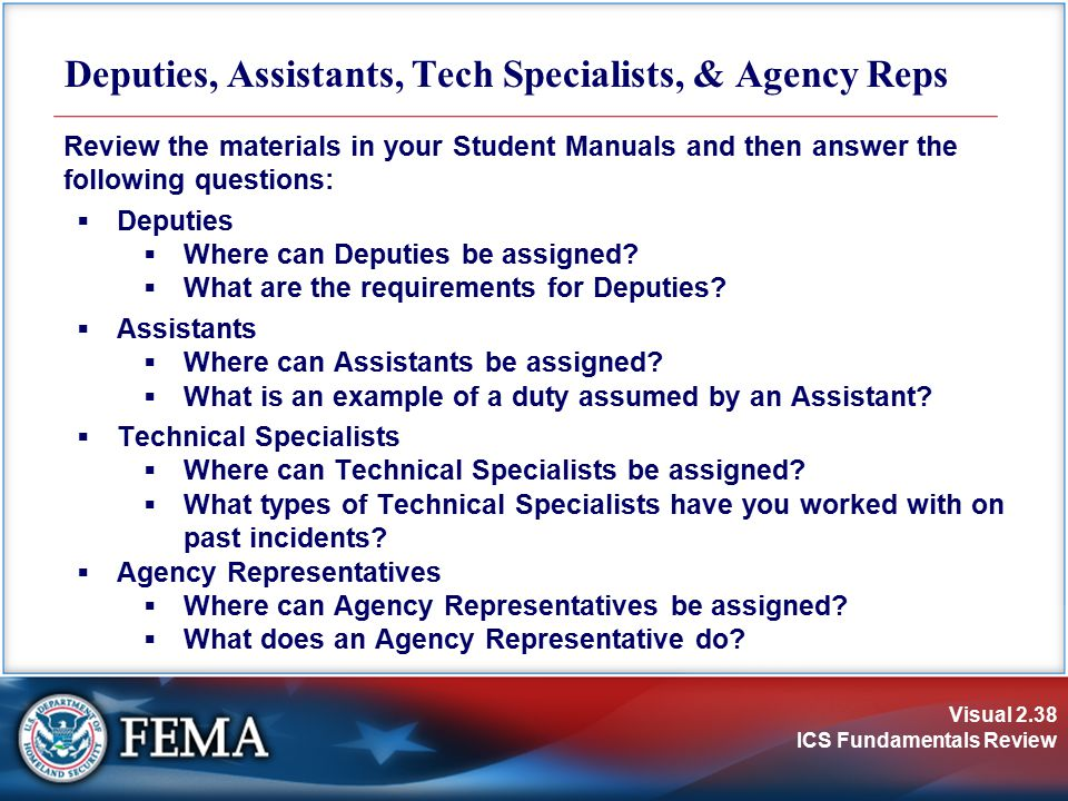 Deputies, Assistants, Tech Specialists, & Agency Reps