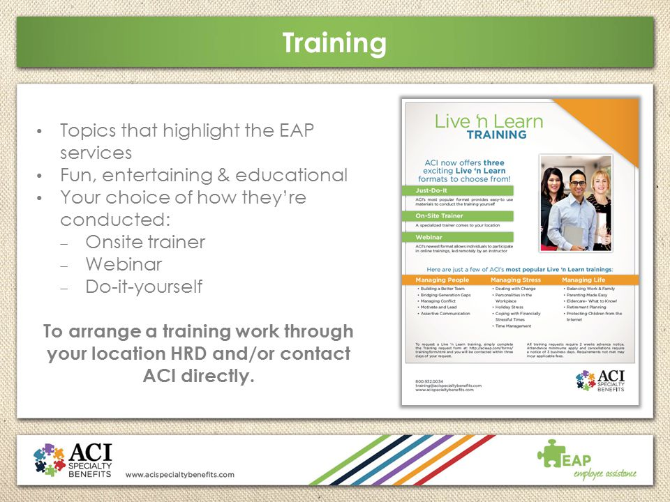 Training Topics that highlight the EAP services