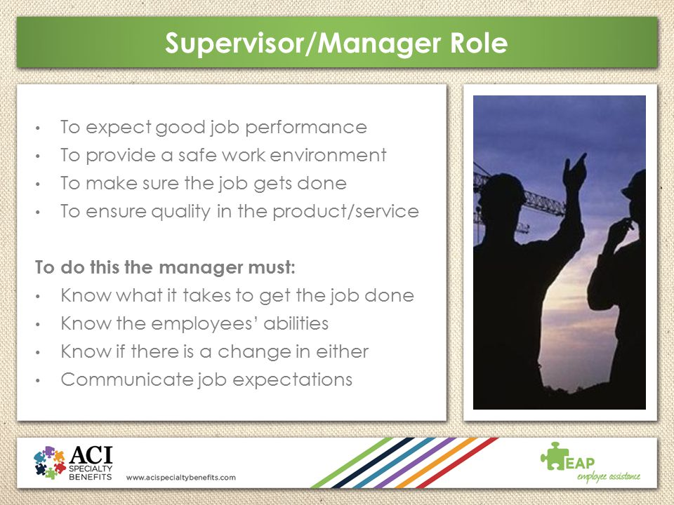 Supervisor/Manager Role