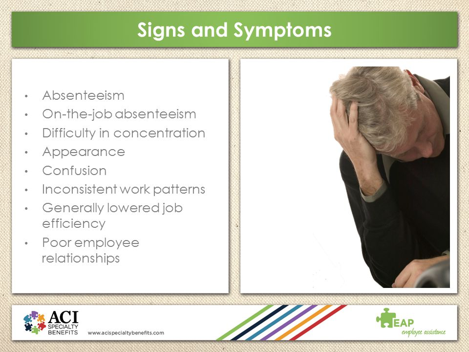 Signs and Symptoms Absenteeism On-the-job absenteeism