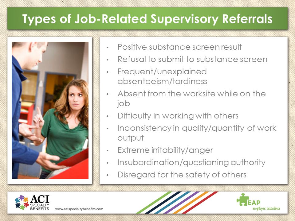 Types of Job-Related Supervisory Referrals
