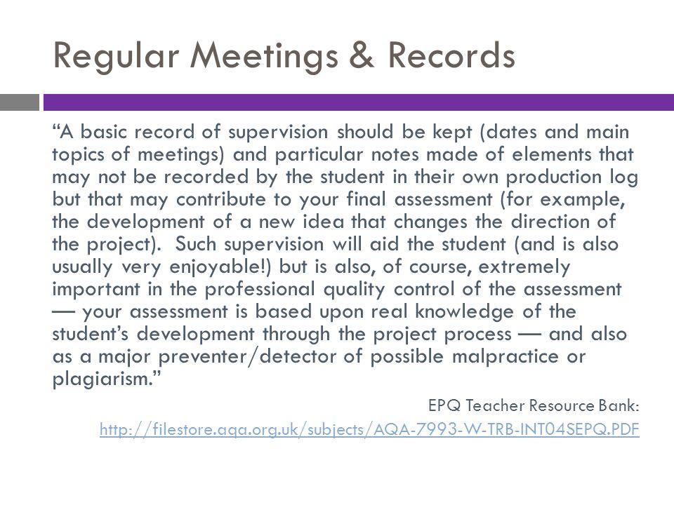 Regular Meetings & Records