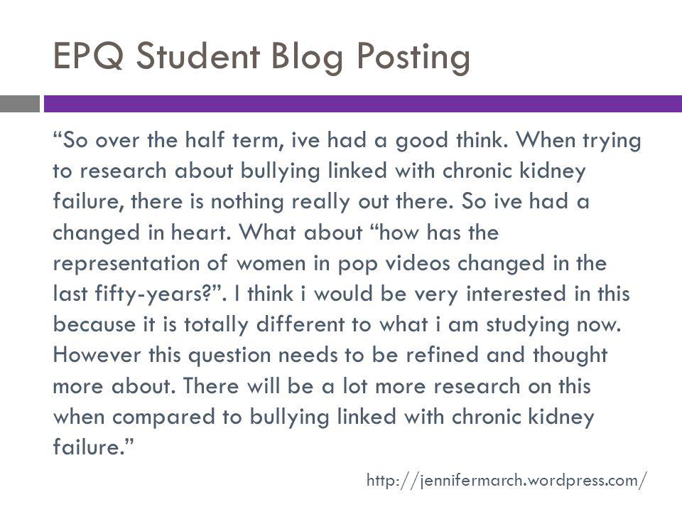 EPQ Student Blog Posting