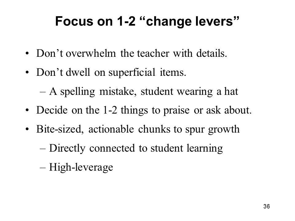 Focus on 1-2 change levers