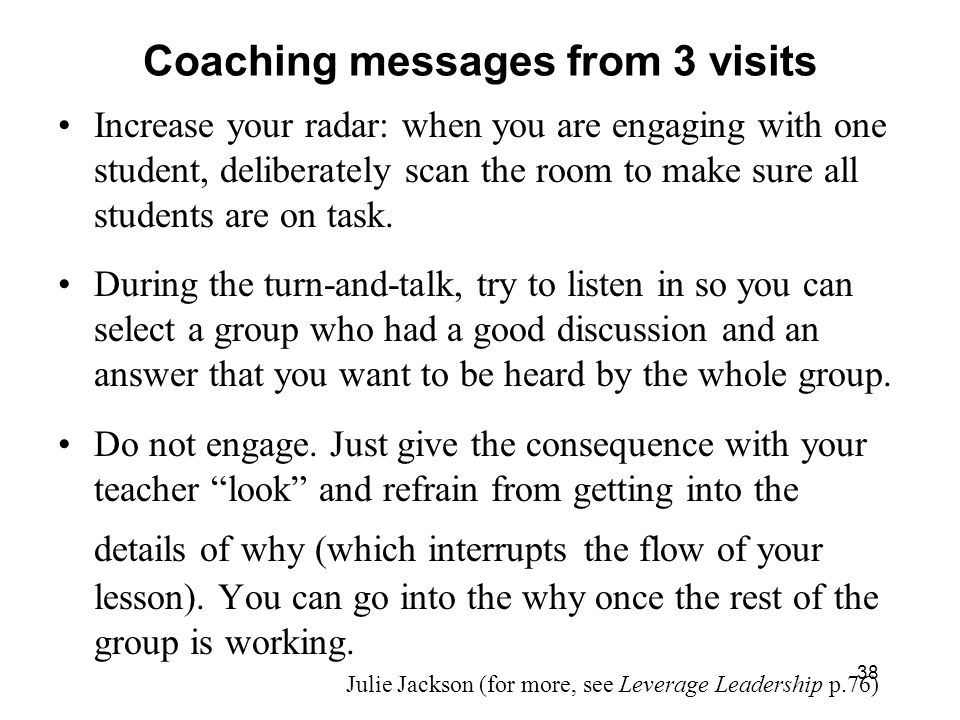 Coaching messages from 3 visits