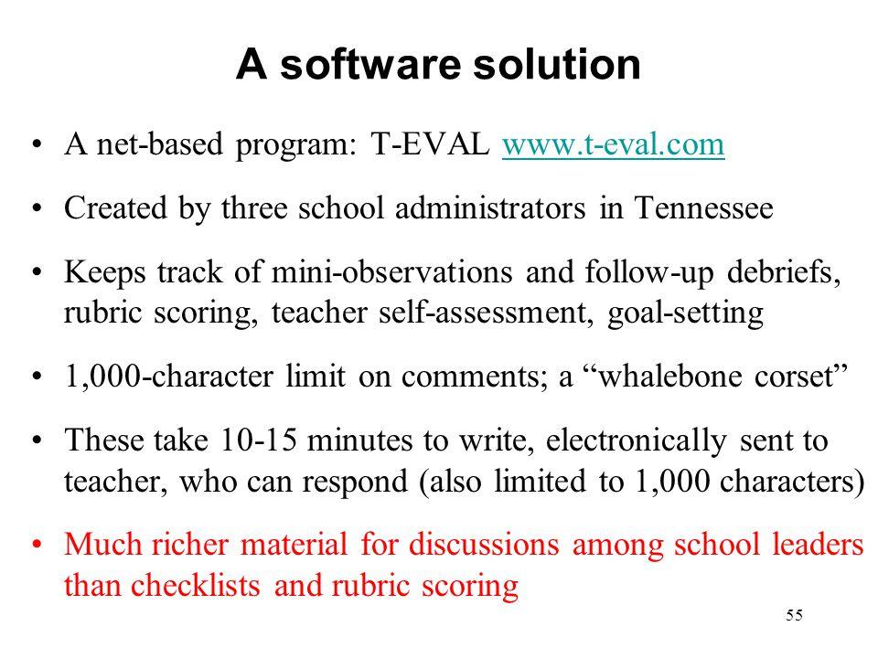 A software solution A net-based program: T-EVAL www.t-eval.com