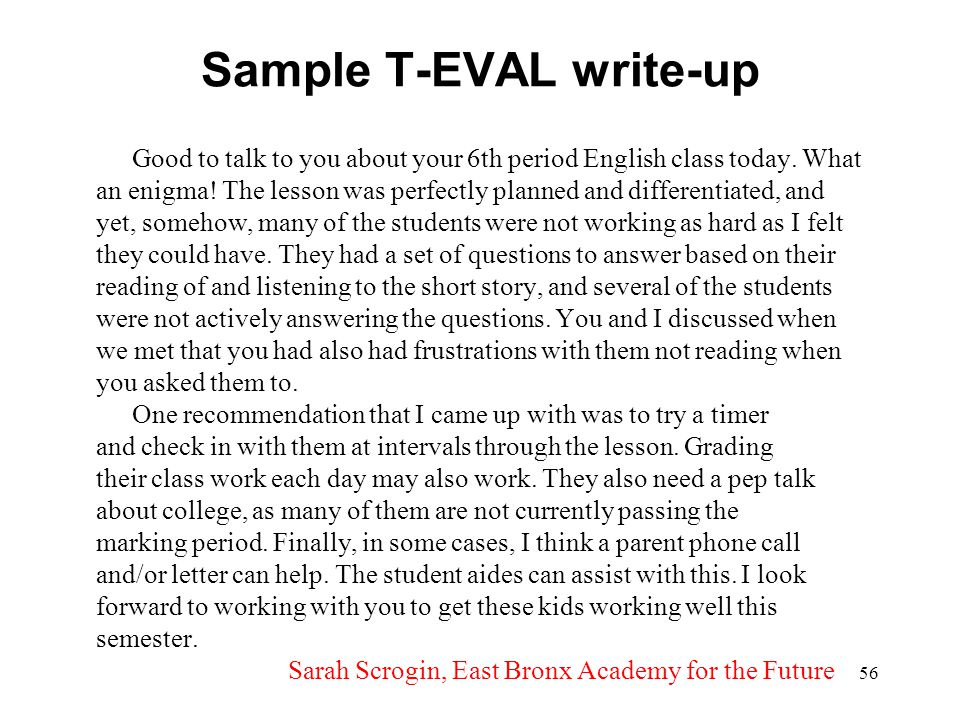 Sample T-EVAL write-up