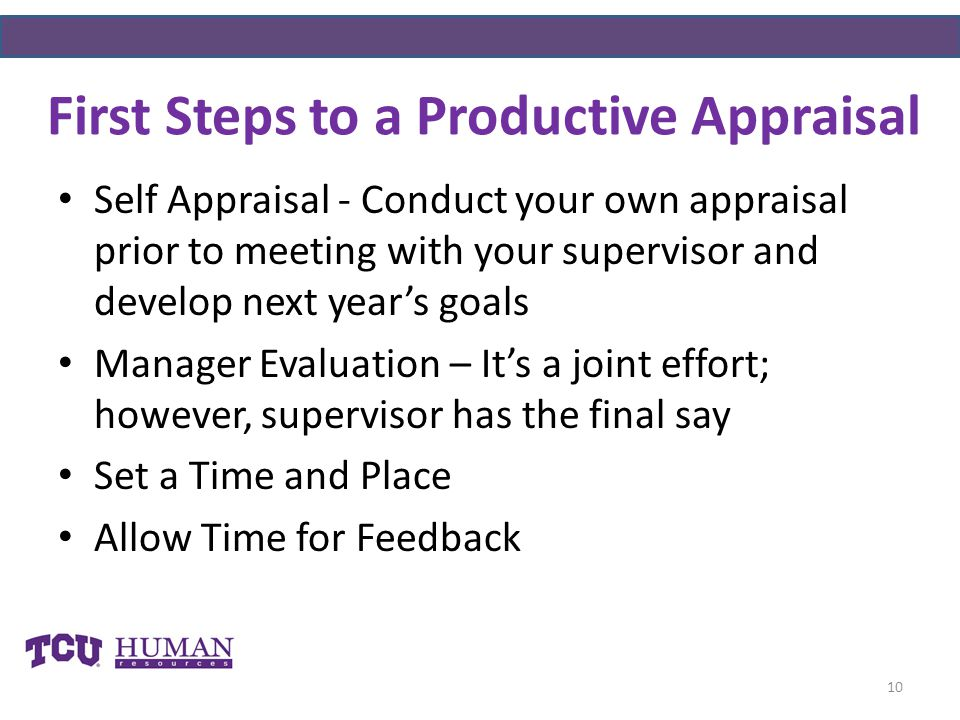 First Steps to a Productive Appraisal