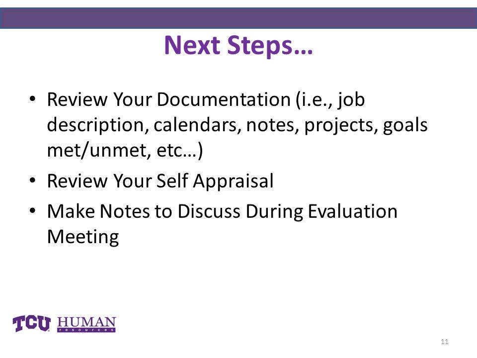 Next Steps… Review Your Documentation (i.e., job description, calendars, notes, projects, goals met/unmet, etc…)