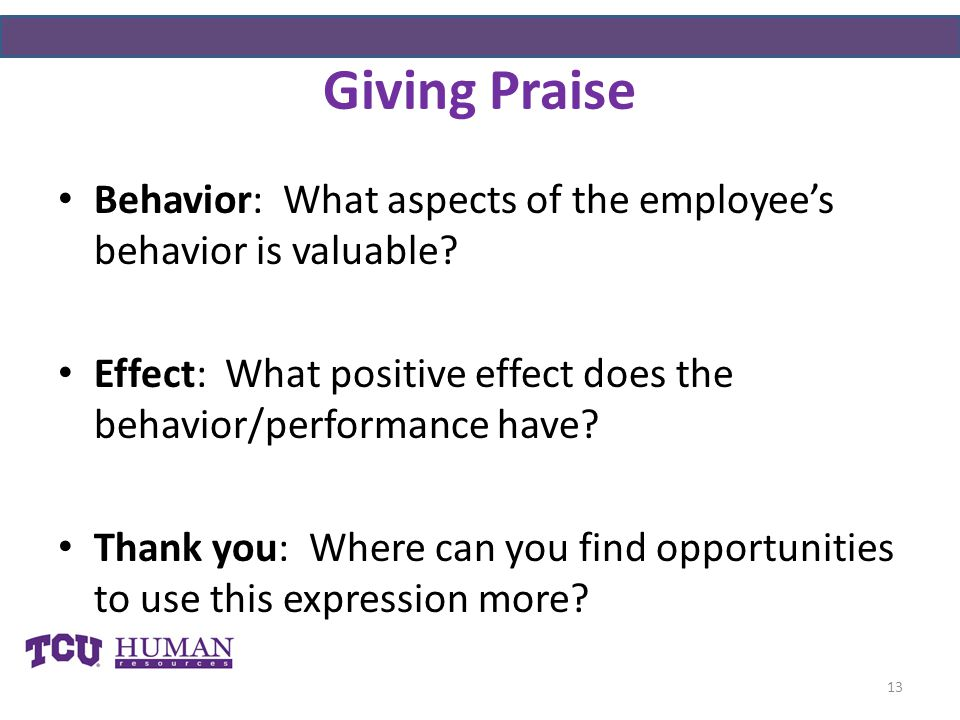 Giving Praise Behavior: What aspects of the employee's behavior is valuable Effect: What positive effect does the behavior/performance have