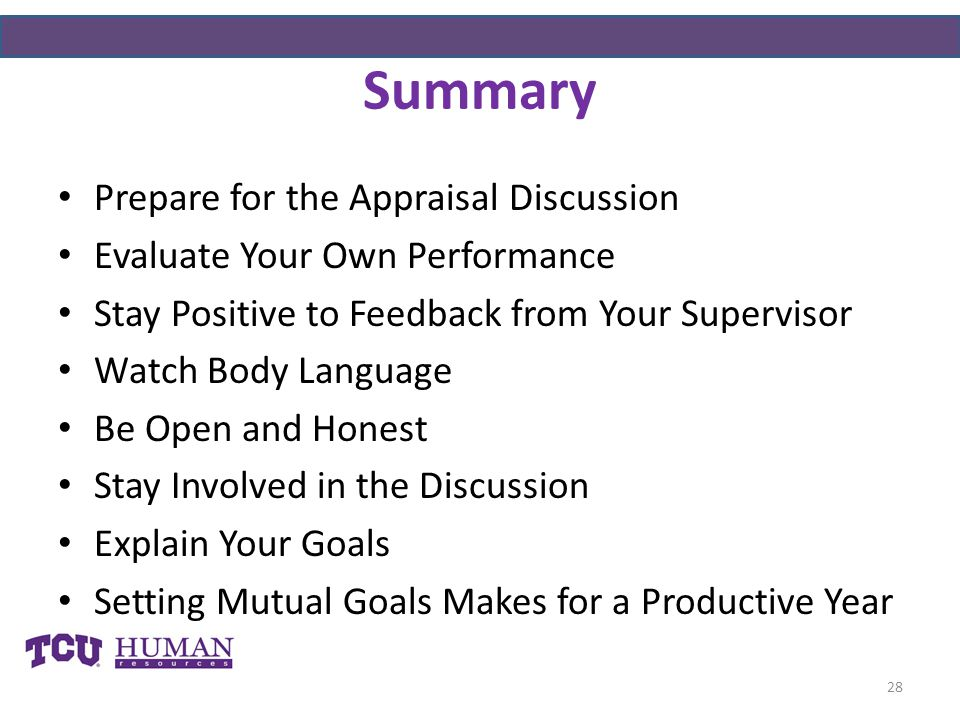 Summary Prepare for the Appraisal Discussion