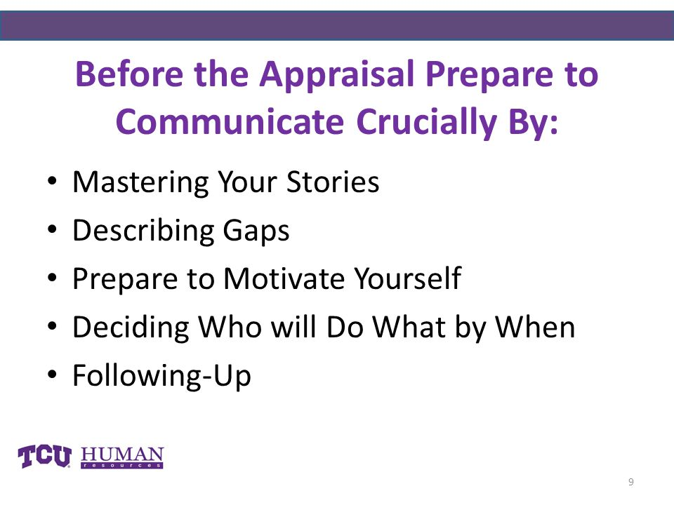 Before the Appraisal Prepare to Communicate Crucially By: