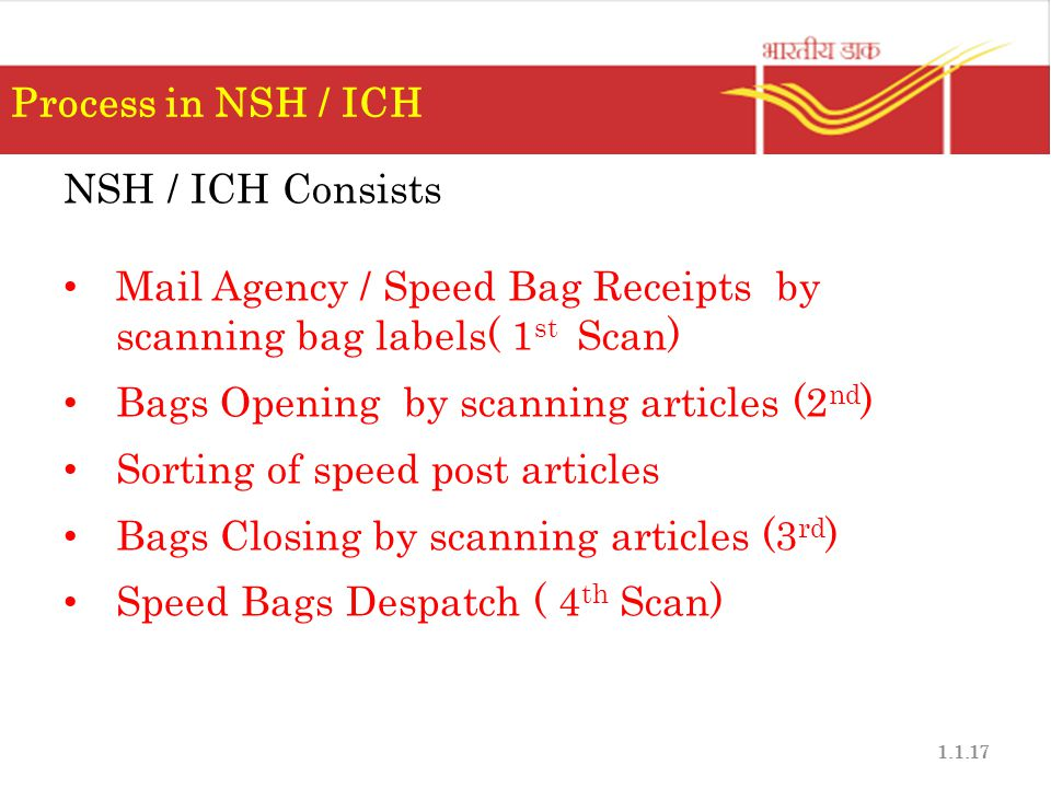 Process in NSH / ICH NSH / ICH Consists. Mail Agency / Speed Bag Receipts by scanning bag labels( 1st Scan)